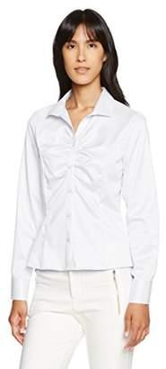Naracamicie (ナラカミーチェ) - [NARA CAMICIE(ナラ カミーチェ)]コットンツイル胸ギャザースタンドカラー長袖シャツ 10-72-01-013 レディース ホワイト 日本 M (日本サイズ9 号相当)