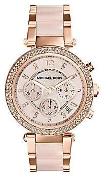 Michael Kors Women's Parker Pavé Rose Goldtone Stainless Steel Chronograph Bracelet Watch