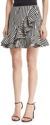 Self-Portrait Self Portrait Abstract-Stripe Flared Ruffle Skirt