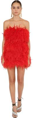 ATTICO Off-The-Shoulder Mini Dress W/ Feathers