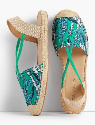 Talbots Ivy Canvas Espadrille Flats-Jungle Botanical