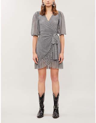 Ganni Gingham ruffled mesh mini dress