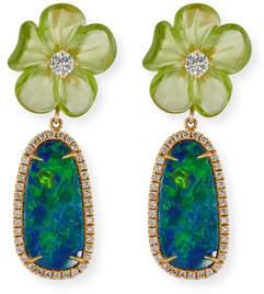Rina Limor Fine Jewelry Floral Opal & Peridot Earrings with Diamonds