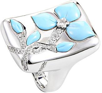Heritage Oro Trend 18K 0.40 Ct. Tw. Diamond & Turquoise Ring