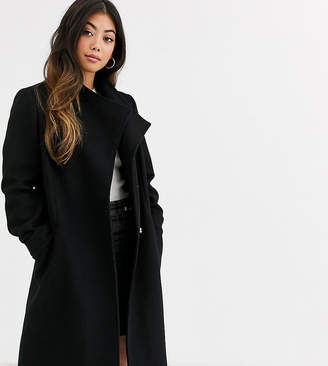 Asos DESIGN Petite smart coat with wrap front detail in black