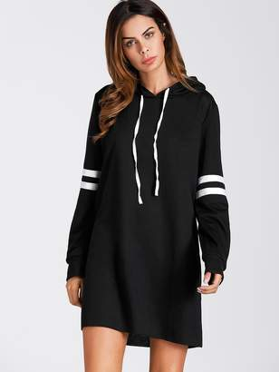 Shein Varsity Striped Hoodie Sweatshirt Dress