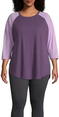 Flirtitude 3/4th Sleeve Round Neck T-Shirt-Womens Juniors Plus