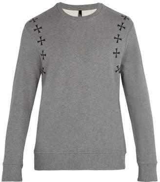 Neil Barrett - Military Star Print Crew Neck Cotton Sweatshirt - Mens - Grey