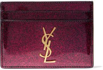 Saint Laurent Glittered Patent-leather Cardholder - Burgundy