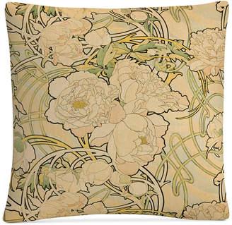 "Trademark Global Alphonse Mucha Peonies 16"" x 16"" Decorative Throw Pillow"
