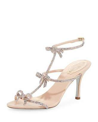 Rene Caovilla Mid-Heel T-Strap Sandal with Bows