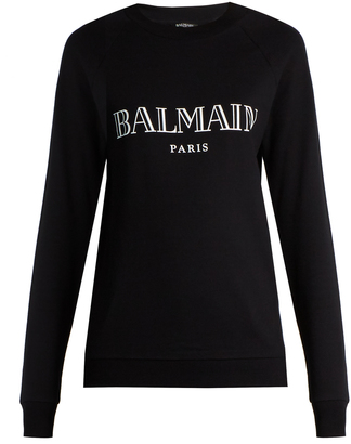 BALMAIN Logo-print cotton-jersey sweatshirt $327 thestylecure.com