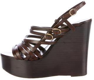 Saint LaurentYves Saint Laurent Leather Wedge Sandals