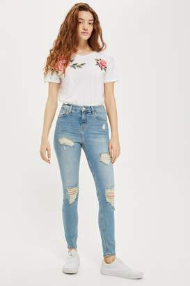 Topshop Womens Bleach Super Ripped Jamie Jeans - Bleach