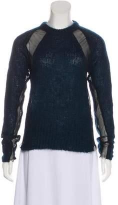 Kolor Sheer-Trimmed Knit Sweater