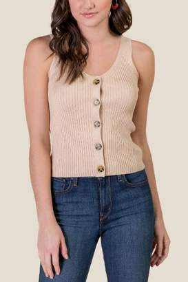 0d4cd373079a7 francesca s Emerson Button Down Tank Top - Sand