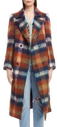 Toga Long Plaid Shaggy Wool & Mohair Blend Coat