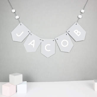 Paper and Wool Personalised Name Bunting With Mini Pom Poms