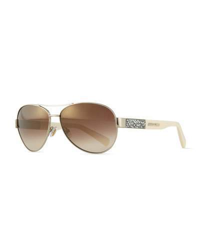 Jimmy Choo Jimmy Choo Babas Crystal-Temple Aviator Sunglasses, Light Golden