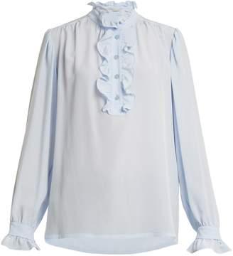 Stella McCartney Ruffled-collar silk-crepe blouse