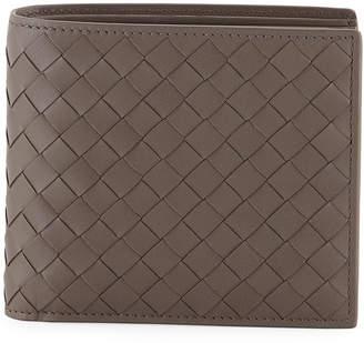 Bottega Veneta Intrecciato Leather Bi-Fold Wallet, Gray