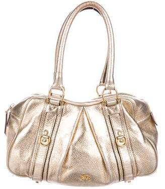 Burberry Metallic Leather Zip Shoulder Bag