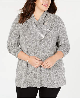 Style&Co. Style & Co Plus Size Lace-Trimmed Cowl-Neck Top