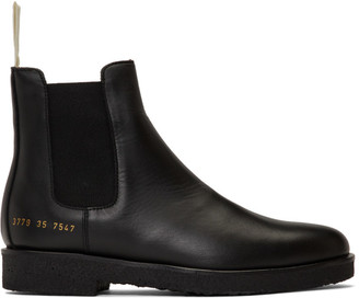 Common Projects Woman By Woman by SSENSE Exclusive Black Leather Chelsea Boots