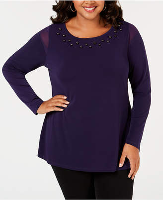 Belldini Belle by Plus Size Studded Mesh-Inset Top