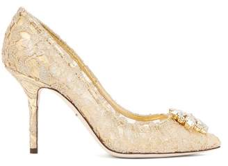 Dolce & Gabbana Belluci Crystal Embellished Lace Pumps - Womens - Gold