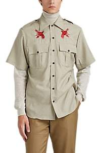 Lanvin Men's Bird-Embroidered Virgin Wool Plain-Weave Military Shirt - Beige, Tan