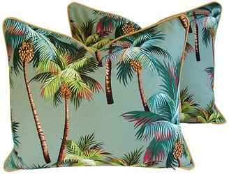 One Kings Lane Vintage Oasis Palm Tree Barkcloth Pillows - Pr