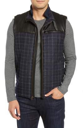 Robert Graham McClement Leather Trim Wool Blend Vest