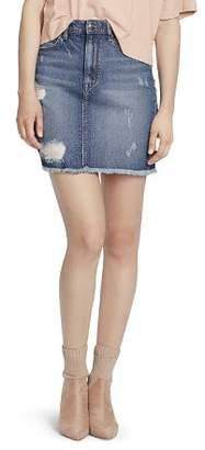 Ella Moss Distressed Frayed Hem Denim Mini Skirt in Gwen