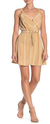 KENEDIK Striped Zip Front Fit & Flare Mini Dress