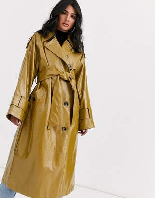 Asos Design DESIGN vinyl trench coat in khaki