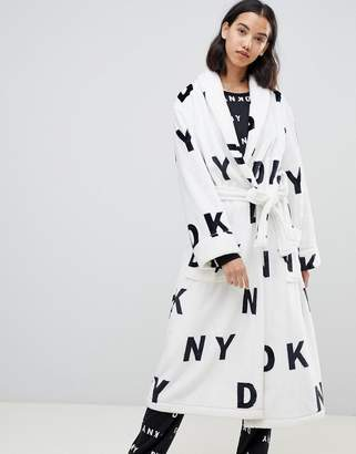 DKNY Logo Fleece Hooded Robe