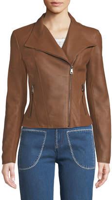Andrew Marc Felix Best Seller Asymmetric-Zip Leather Moto Jacket