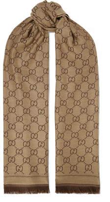 Gucci Sten Reversible Intarsia Wool Scarf - Chocolate