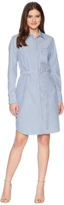 Calvin Klein Striped Long Sleeve Shirtdress CD8G18GC Women's Dress