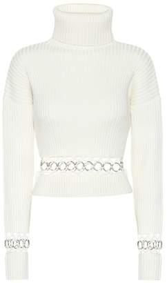 David Koma Eyelet wool-blend sweater