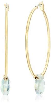 Anne Klein Women's Gold Tone Stone Hoop Earrings