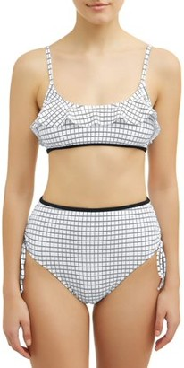 No Boundaries Juniors' Checkmate Ruffle Swimsuit Top