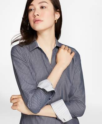 Brooks Brothers Petite Non-Iron Fitted Striped Cotton Poplin Shirt