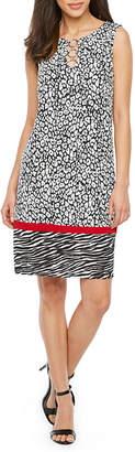 MSK Sleeveless Animal Shift Dress