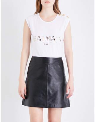 Balmain foiled-logo cotton sleeveless t-shirt