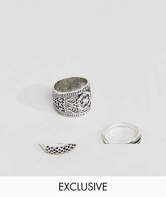 Asos DesignB London DesignB Silver Chunky Engraved Rings In 3 Pack Exclusive To