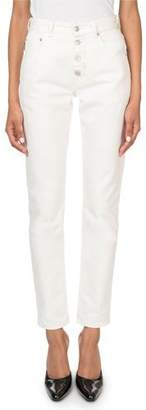 Balenciaga High-Rise Button-Front Stone-Wash Tube Jeans
