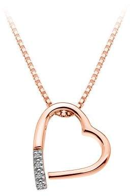 Hot Diamonds Memories Silver and Diamond Pendant with Rose Gold Plated Sterling Silver Box Chain of Length 40-45 cm