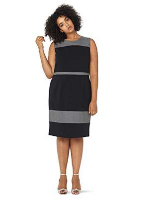 Nine West Women's Size Plus Sleeveless Jewel Neck Stretch Crepe Color Block Dress